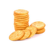 Cracker cookie on white background. Royalty Free Stock Photography