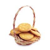 Cracker cookies in basket Royalty Free Stock Photo