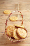 Cracker cookies in basket Royalty Free Stock Photography