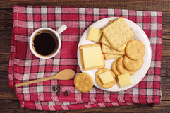 Cracker cookies with cheese and coffee Royalty Free Stock Images