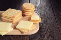 Cracker cookies with cheese Royalty Free Stock Images