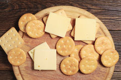 Cracker cookies with cheese Royalty Free Stock Image
