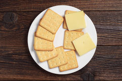 Cracker cookies with cheese Stock Image
