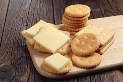 Cracker cookies with cheese Royalty Free Stock Photo