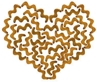 Cracker cookies in the shape of a zigzag in the contour of hearts isolated Stock Photo