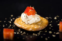 Cracker with Cream Cheese Royalty Free Stock Photos