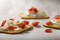 Cracker with Cream Cheese Royalty Free Stock Photography