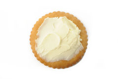 Cracker with cream cheese Stock Image