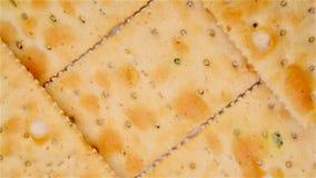 Cracker croccanti di vista superiore video d archivio