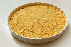 Cracker crust in the dish. Cracker crust in the circle dish Royalty Free Stock Photo