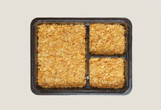 Cracker crust in the square box. Top view Royalty Free Stock Photos