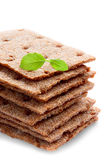 Cracker del pane croccante del grano, isolato Fotografia Stock