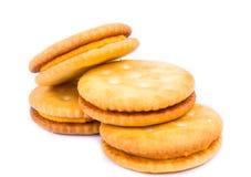 Cracker del pane su un fondo bianco Fotografie Stock