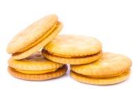 Cracker del pane su un fondo bianco Immagine Stock Libera da Diritti