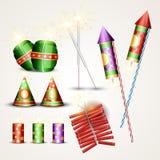 Cracker di Diwali impostati Immagini Stock Libere da Diritti