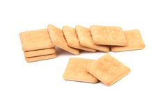 Cracker di soda del Saltine su bianco Fotografie Stock