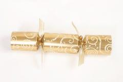 Cracker dorato di natale Fotografia Stock