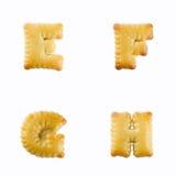 Cracker in Form von dem Alphabet: E-F Stockbild