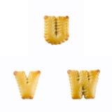 Cracker in Form von dem Alphabet: U-W Lizenzfreie Stockfotografie