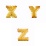 Cracker in Form von dem Alphabet: U-W Lizenzfreies Stockfoto