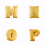 Cracker in Form von dem Alphabet: Wartungstafel Lizenzfreie Stockfotos