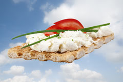 Cracker with herb cheese Stock Images