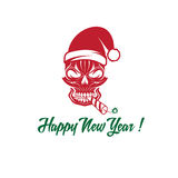 Cracker in his mouth and a Santa Claus hat. Skull with a cracker in his mouth and a Santa Claus hat vector illustration