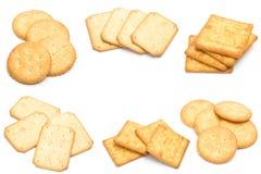 Cracker isolati sopra fondo bianco immagine stock libera da diritti