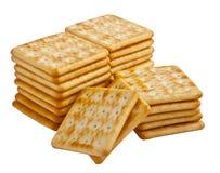 Cracker isolati su fondo bianco Fotografia Stock Libera da Diritti