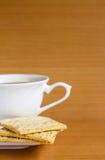 Cracker met koffie Stock Foto's