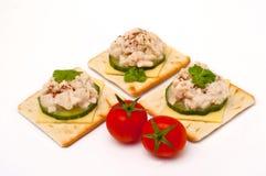 Cracker mit weichem Kabeljaurogen Lizenzfreies Stockfoto