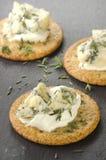 Cracker with organic stilton cheese Royalty Free Stock Photo