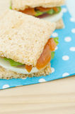 Cracker sandwich with smoked salmon Stock Photo
