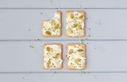 Cracker saporiti con formaggio cremoso, i semi ed i verdi Aperitivi sulla tavola grigia Spuntini sani, vista superiore, disposizi immagine stock libera da diritti