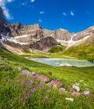 Cracker See und wilde Lilien im Glacier Nationalpark, Montana Stockfotografie