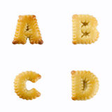 Cracker sotto forma di alfabeto: A-D Immagine Stock