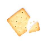 Cracker. Square cracker isolated on white background royalty free stock images