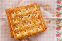 Cracker. Stack on the pink tissue paper Stock Image