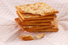 Cracker. Stack on the pink tissue paper Stock Photos