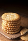 Cracker. Stack of cracker on a wooden table Royalty Free Stock Photo