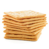 Cracker. Tasty cracker biscuit isolated on white background royalty free stock photo