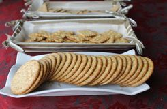 Cracker trays. Glass tray and basket trays ready to serve Stock Image