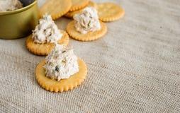 Cracker with tuna spread Stock Photo