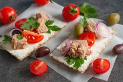 Cracker with tuna spread topping and vegetables. Appetizers with cracke, tuna fish spread topping and vegetables Royalty Free Stock Photos