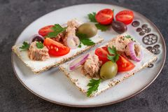Cracker with tuna spread topping and vegetables. Appetizers with cracke, tuna fish spread topping and vegetables Stock Photography