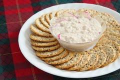 Cracker- und Lachsverbreitung Stockbild