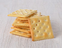 Cracker on wooden. Salt Cracker on wooden table background royalty free stock images
