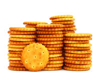 Crackers. Round cracker stacks on a white background Stock Images