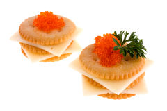 Crackers. With cheese, caviar and parsley Stock Photos