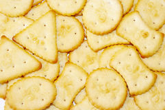 Crackers. A group of baked crackers Stock Photography